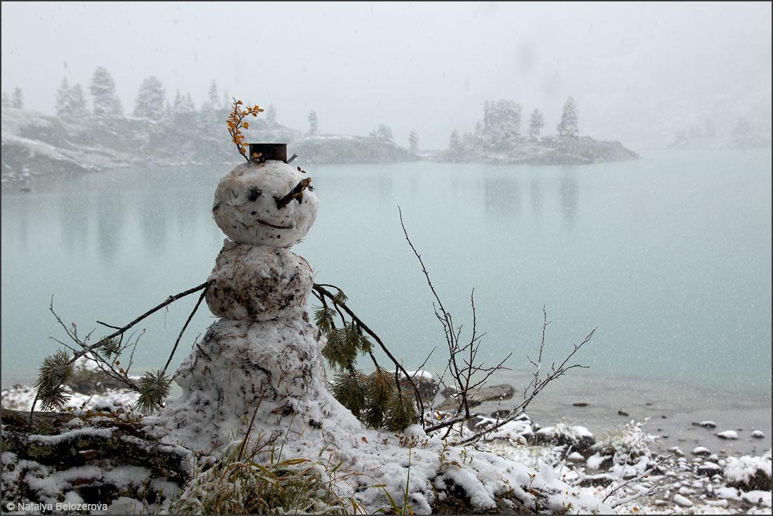 Снежное утро на озере Дарашколь