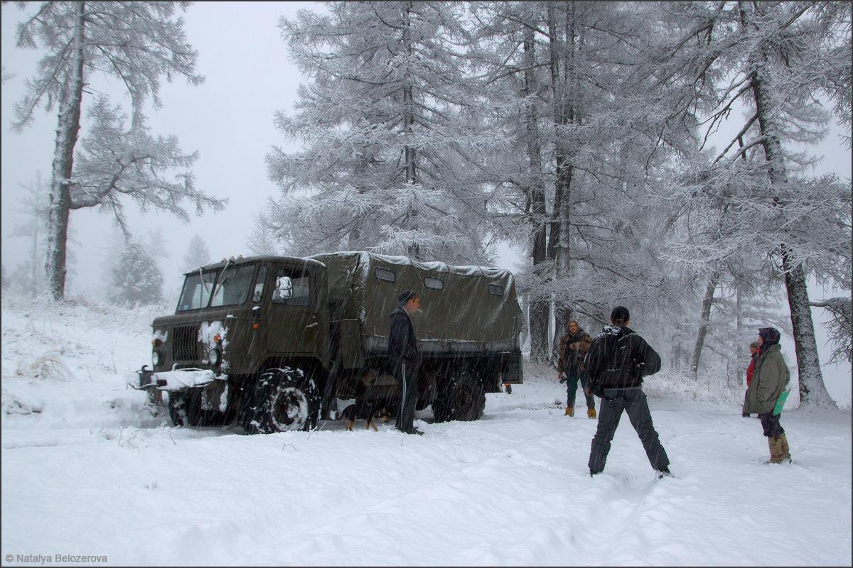 Снежный Мультинский лес по пути к озерам