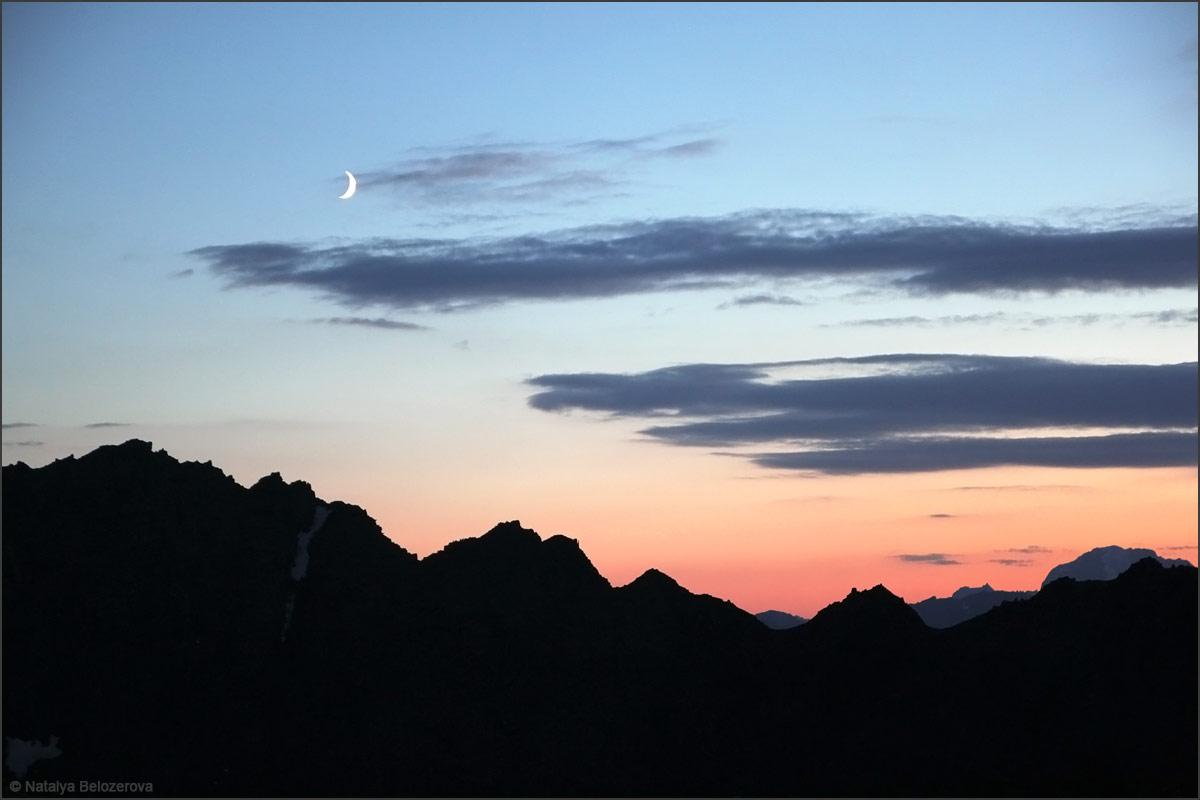 Закат над перевалом Томич с перевала Эренбурга