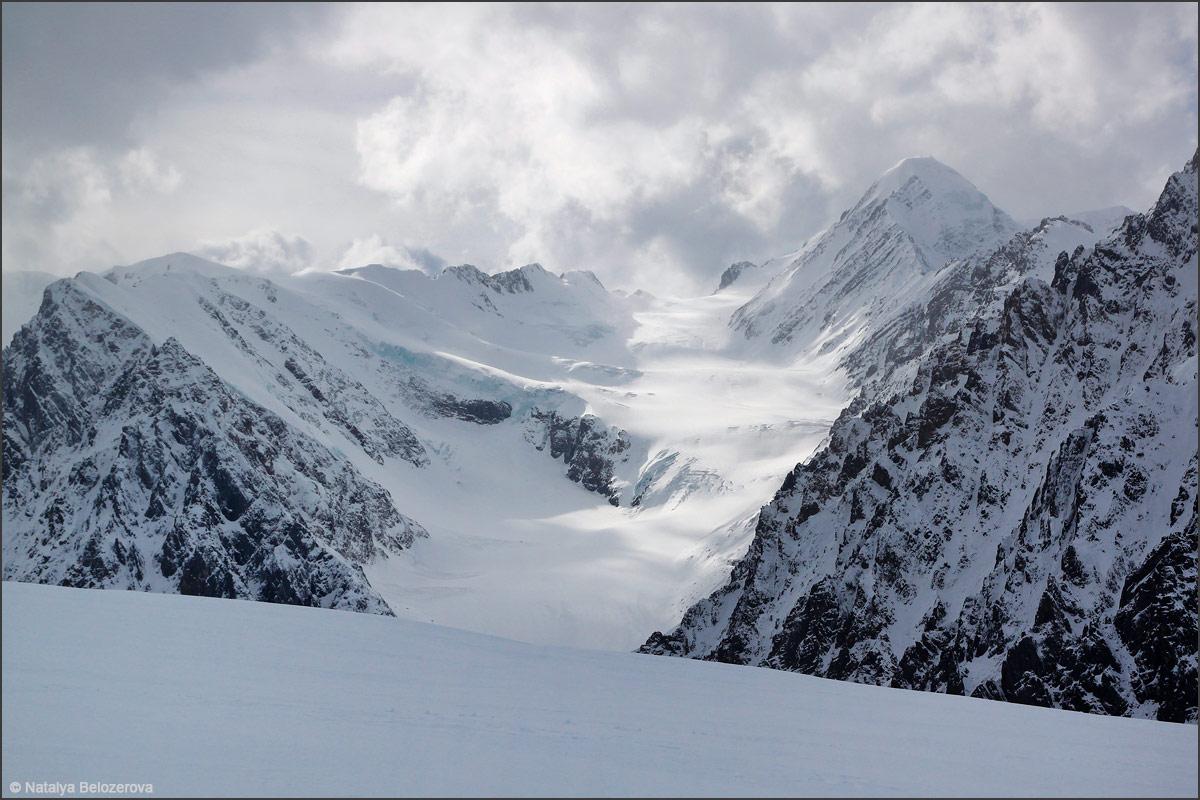Пик Актру и ледник Большой Актру под вершиной Купол