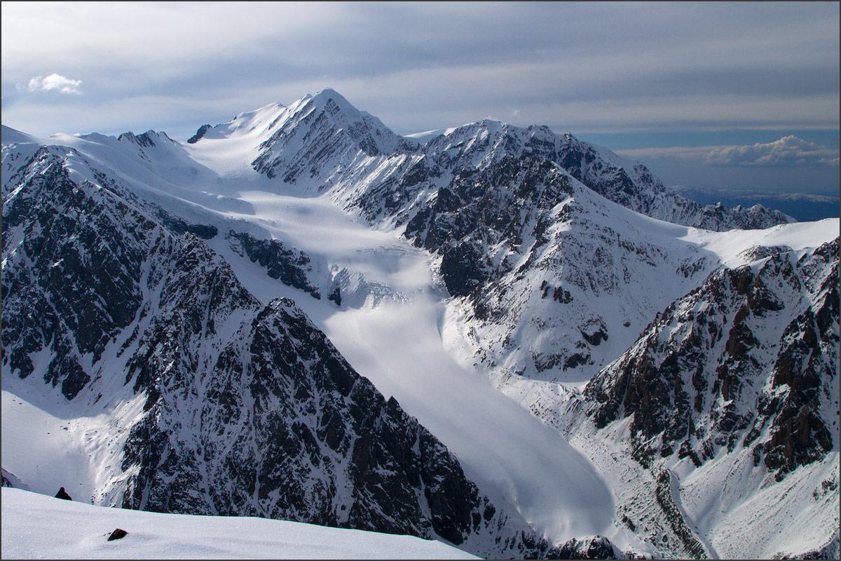 Пик Актру и ледник Большой Актру с Караташа