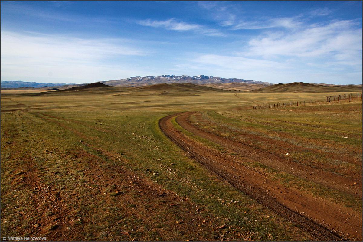Чуйская степь. Долина Юстыд. Вдали массив Талдуайр