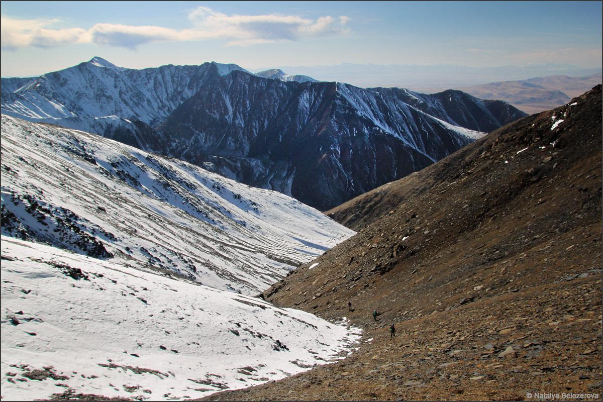 Кулуар от вершины Сайлюгем. Массив Талдуайр. Хребет Чихачева