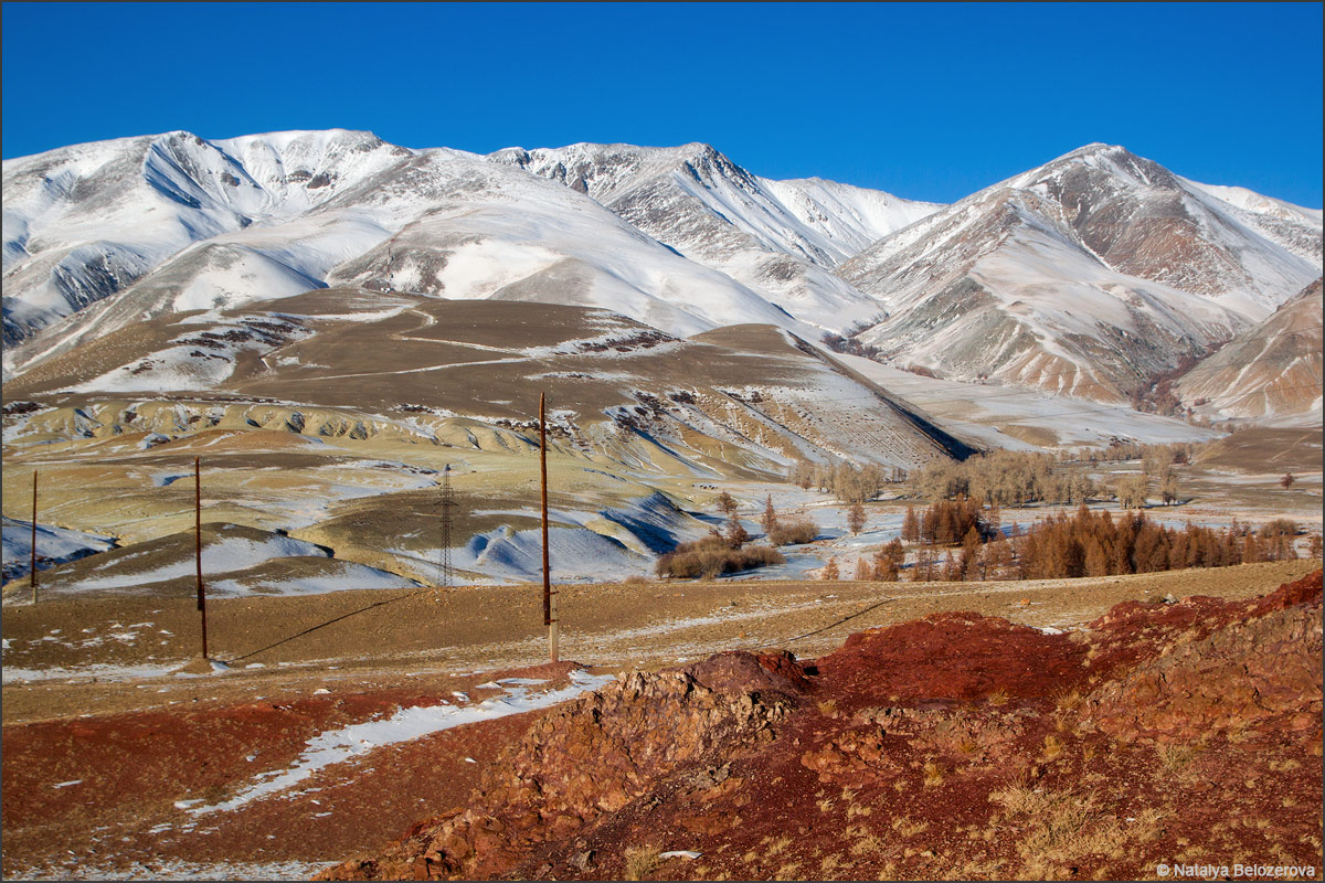 Зимняя долина Тыдтуярык. Вдали Курайский хребет