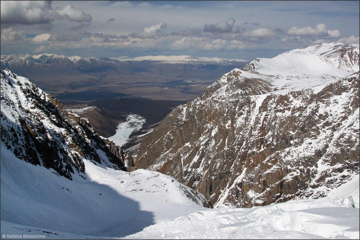 Долина Актру и Курайская степь с ледника Малый Актру